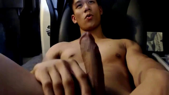 Handsome Asian Jerking Off In Car